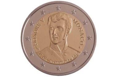 Valore 2 Euro Commemorativi Monaco 2019 Principe Honoré V