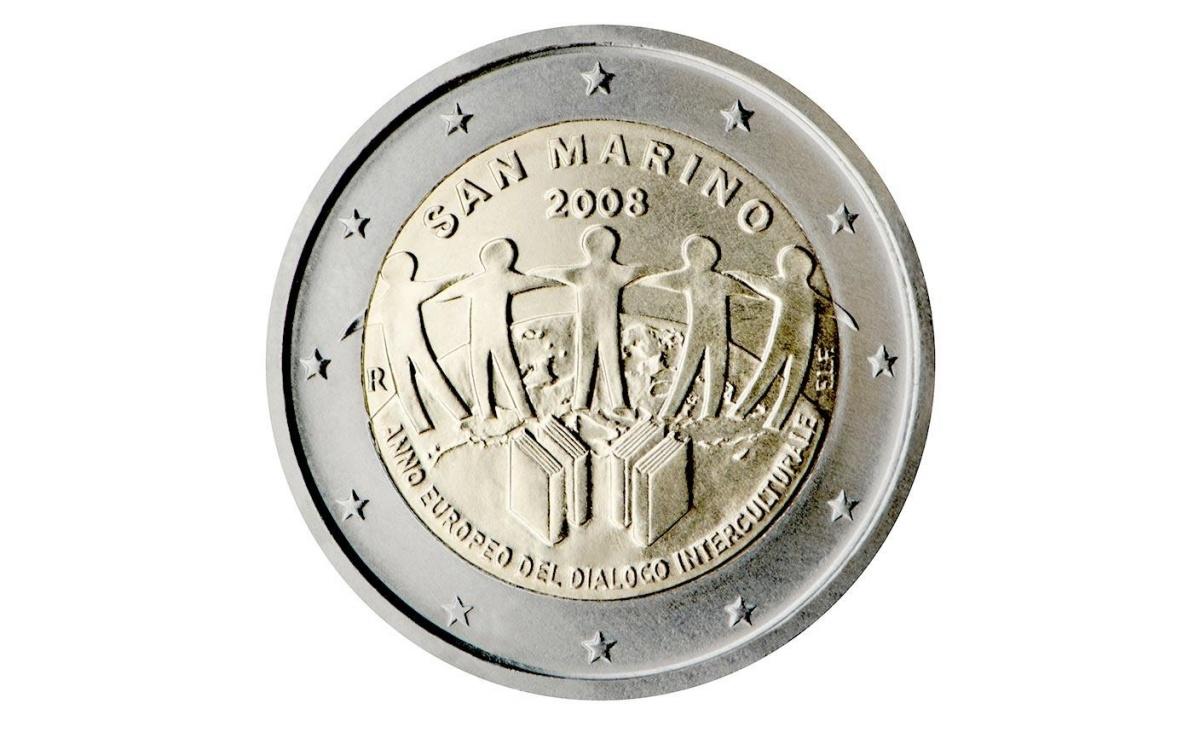 Valore moneta da 2 Euro Commemorativi San Marino 2008 Dialogo Interculturale