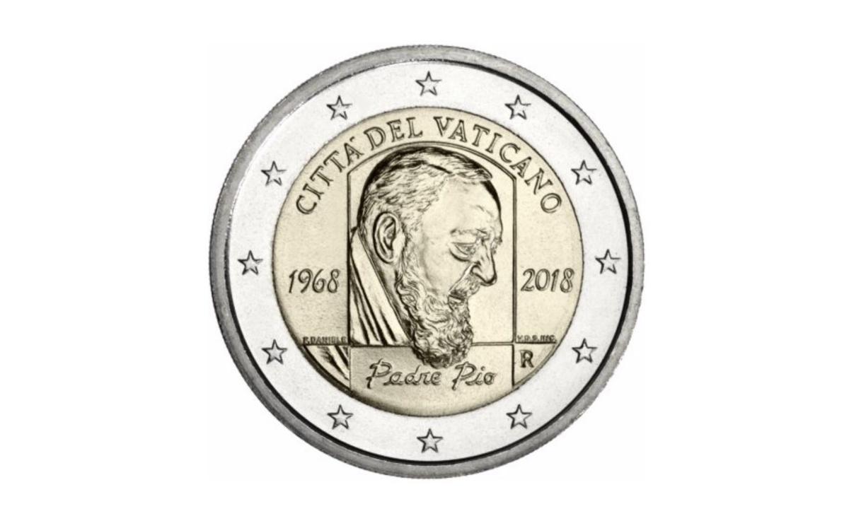Valore moneta da 2 Euro Padre Pio Città del Vaticano 2018