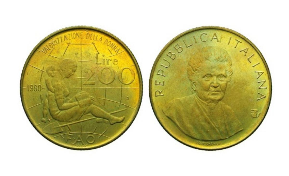 Valore moneta da 200 Lire Montessori 1980