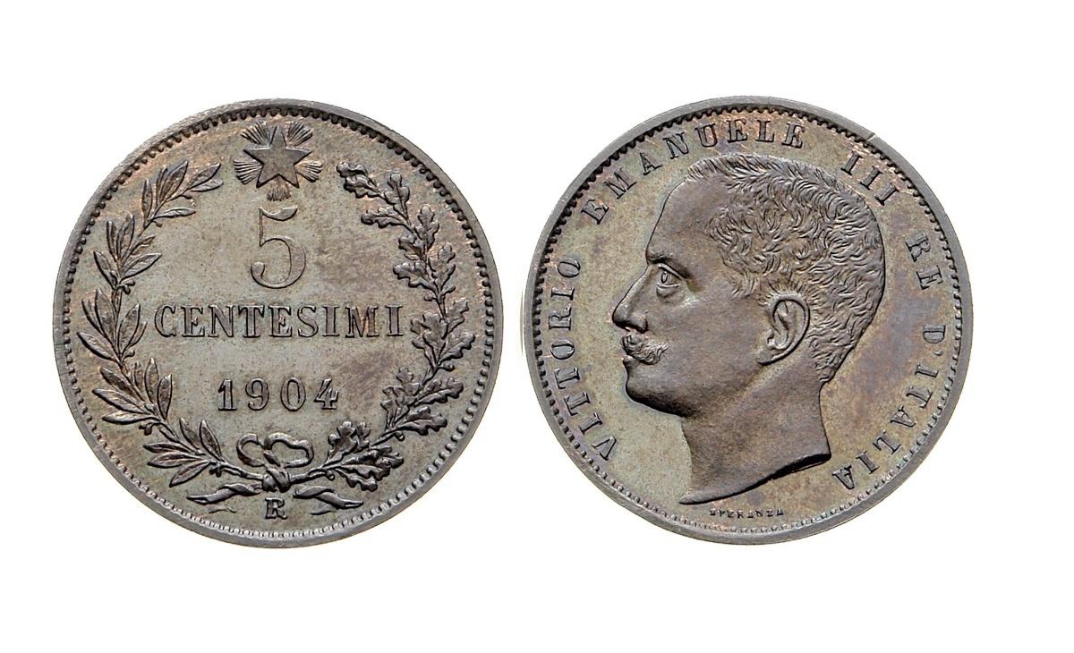 Valore moneta da 5 Centesimi Vittorio Emanuele III 1904