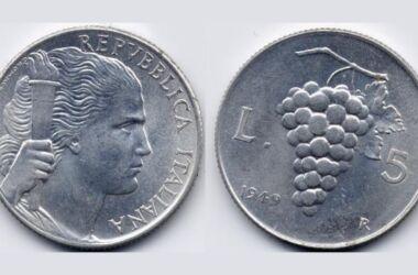 Il valore della moneta da 5 Lire Uva