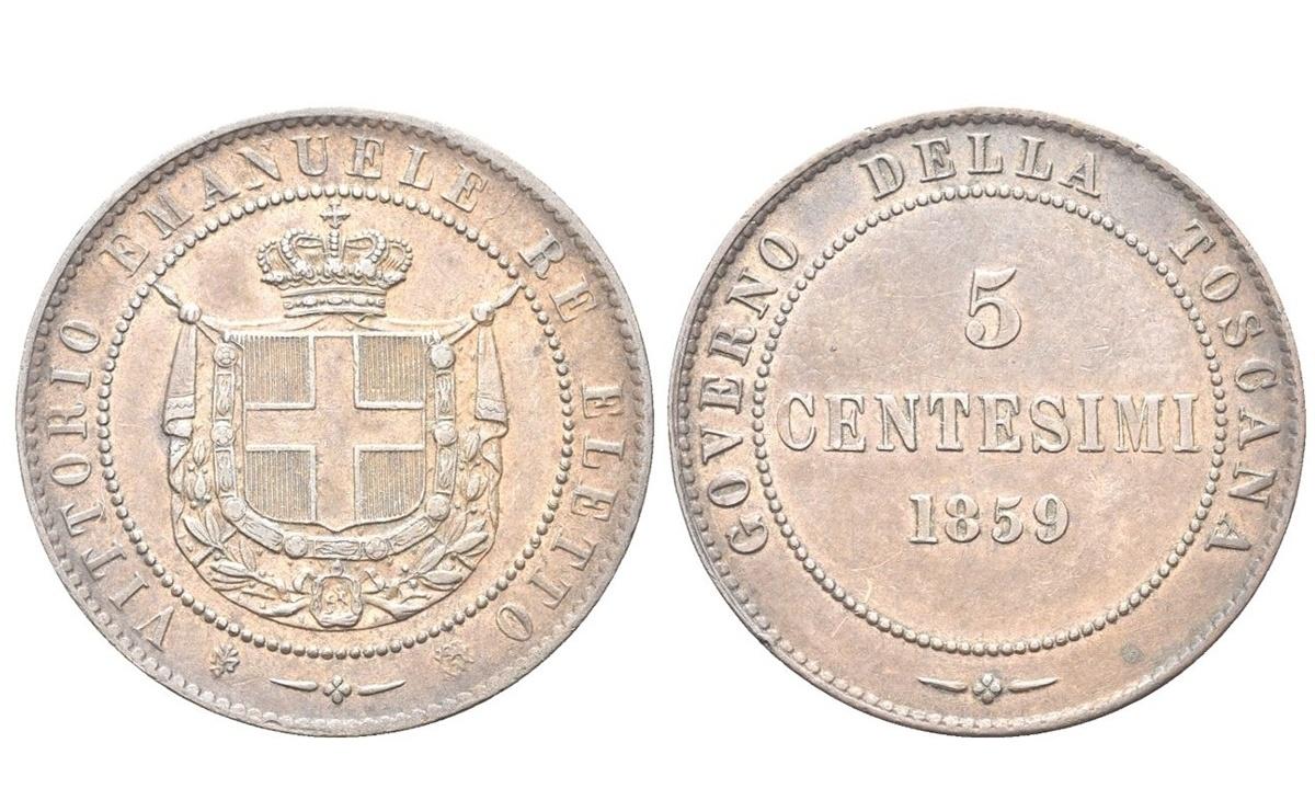 Valore moneta da 5 centesimi Vittorio Emanuele II – Primo Tipo – Toscana