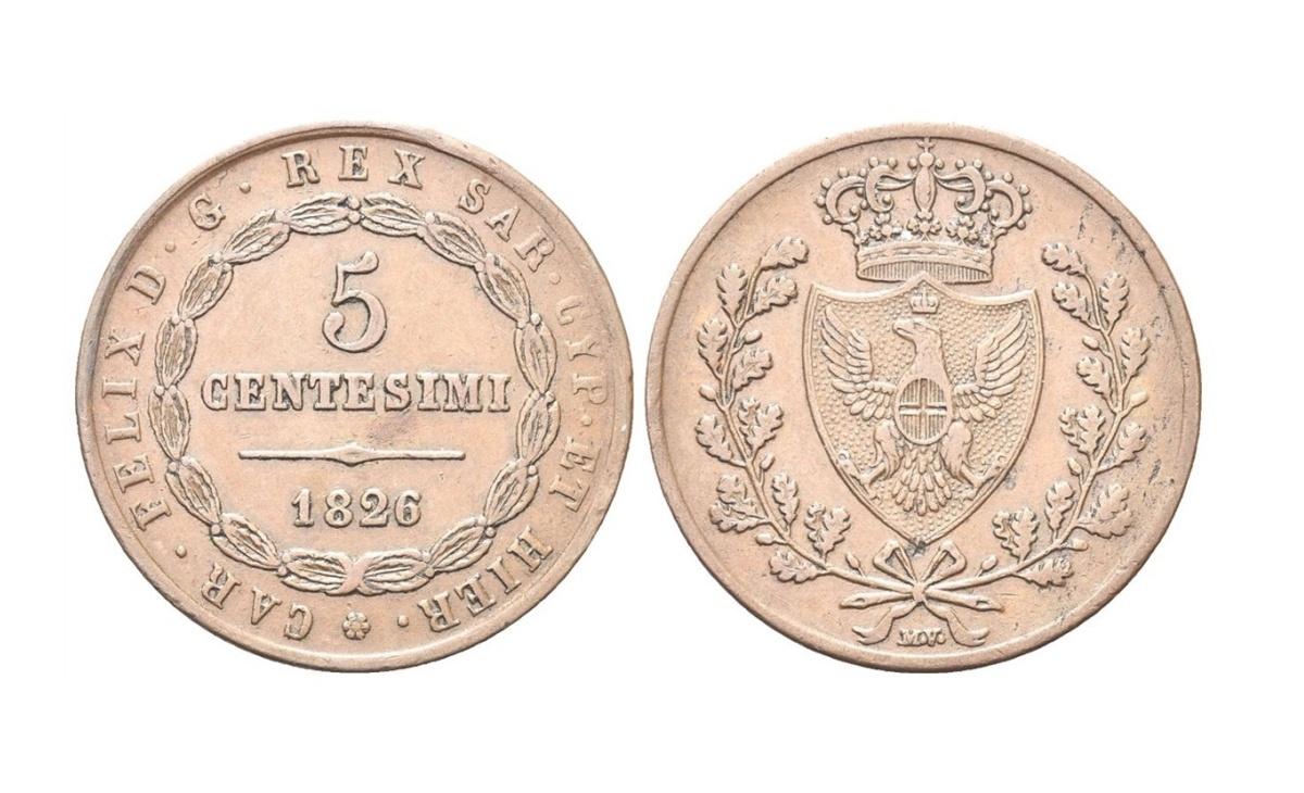 Valore moneta da 5 centesimi Vittorio Emanuele II – Secondo Tipo – Bologna