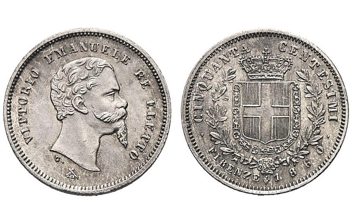 Valore moneta da 50 Centesimi Lire Vittorio Emanuele II Re Eletto Firenze