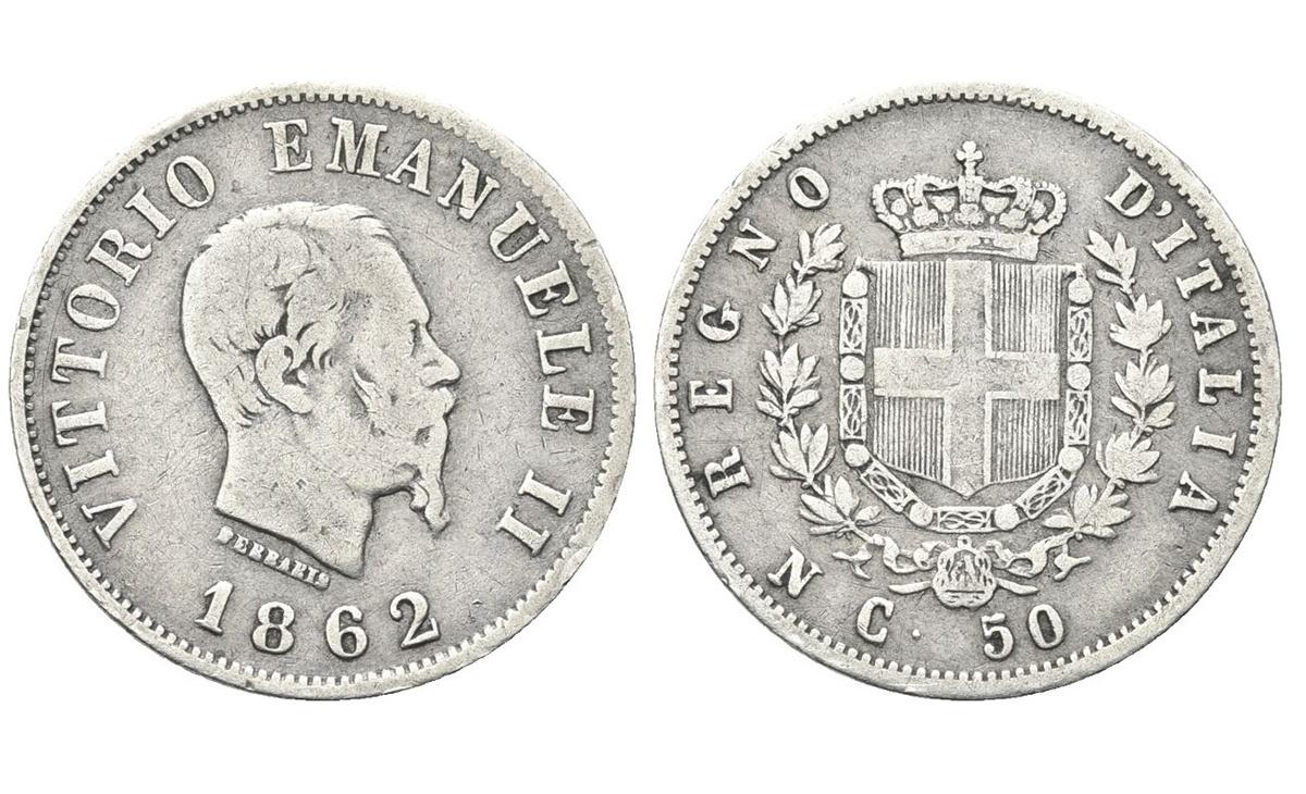 Valore moneta da 50 Centesimi Vittorio Emanuele II Stemma