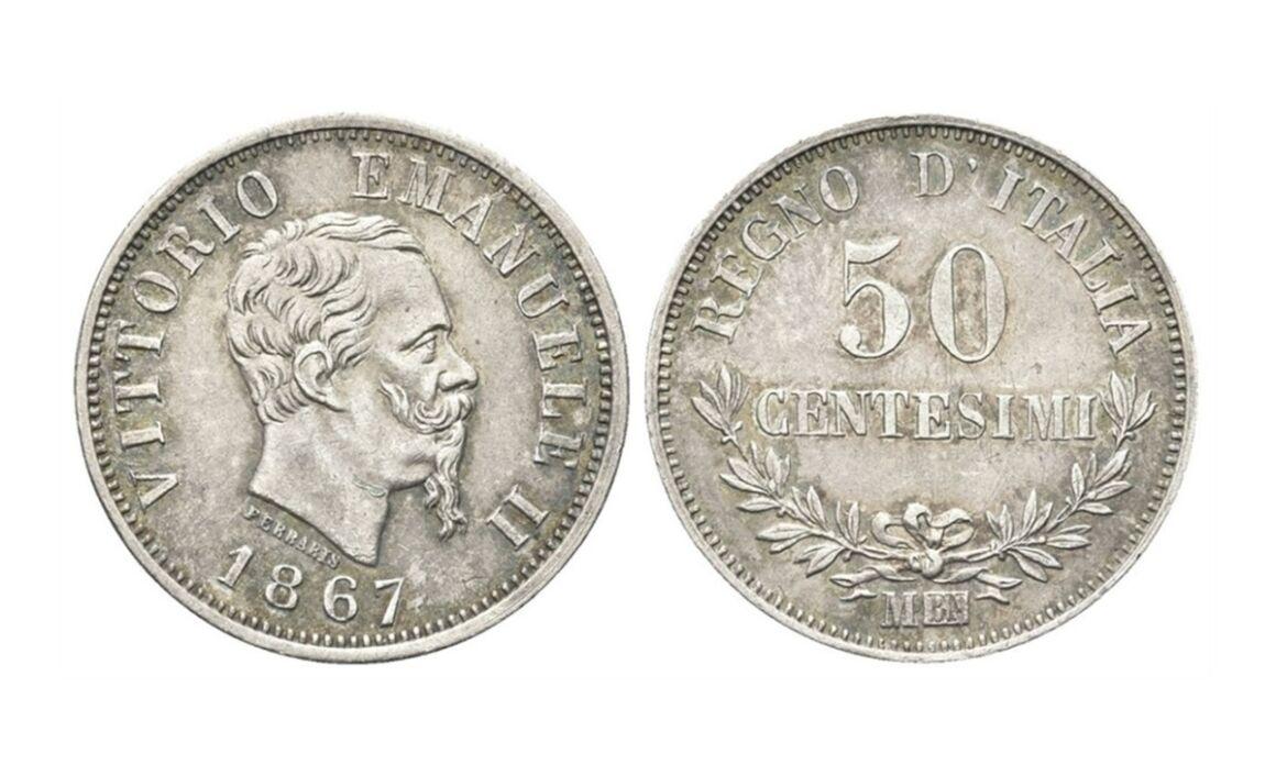 Valore moneta da 50 Centesimi di Lire Vittorio Emanuele II Valore