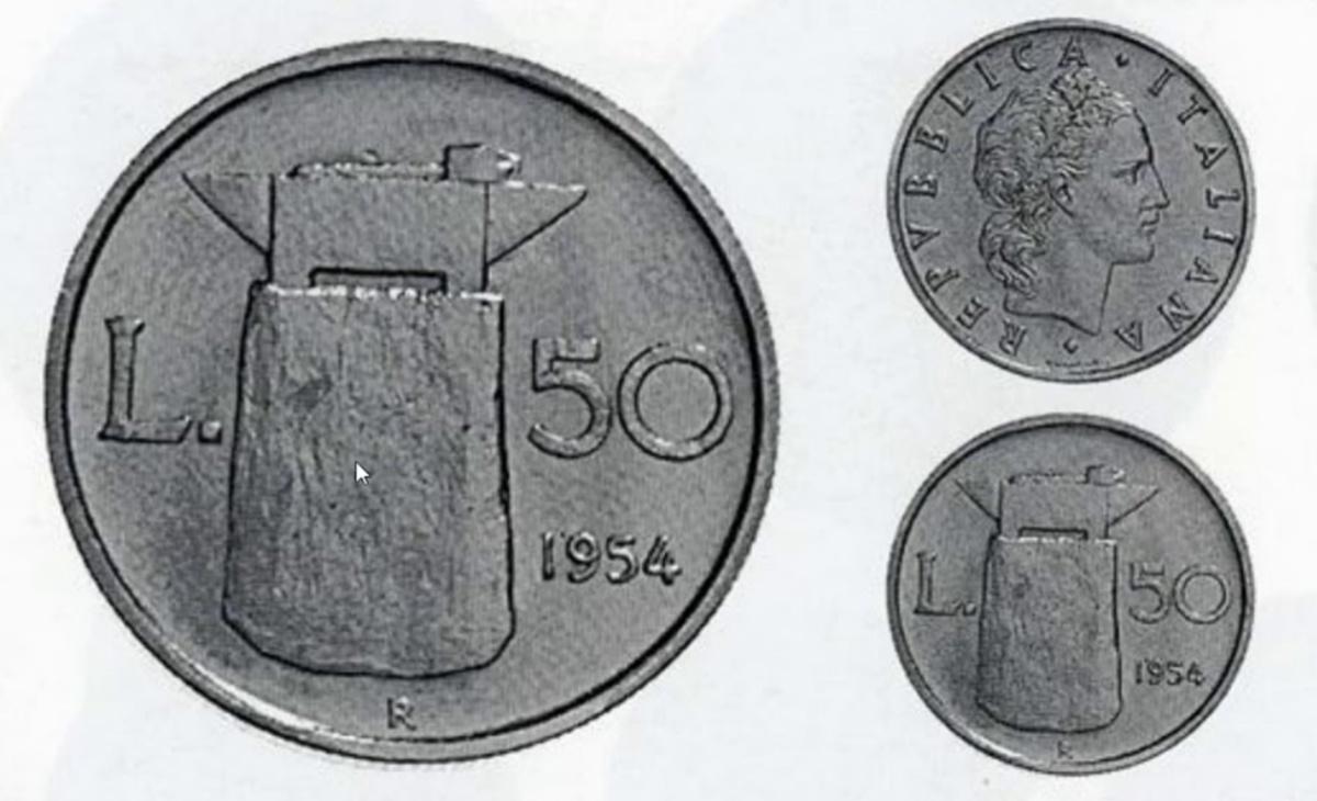 Valore moneta da 50 Lire Incudine PROGETTO 1954
