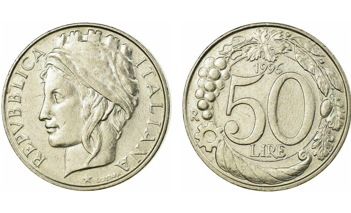 Valore moneta da 50 lire Italia Turrita