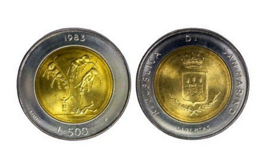 Valore moneta da 500 Lire San Marino 1983 Apocalisse Minaccia atomica