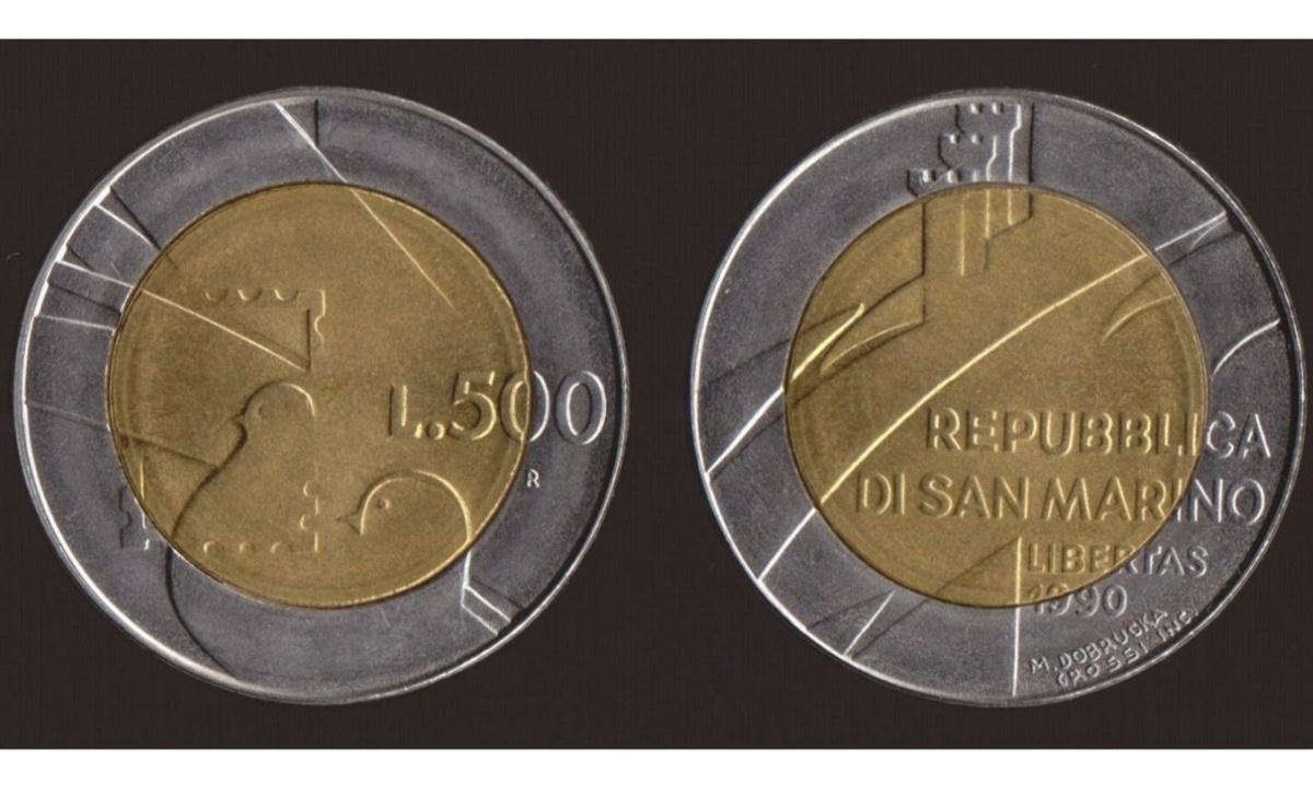 Valore moneta da 500 Lire San Marino 1990 La Pace