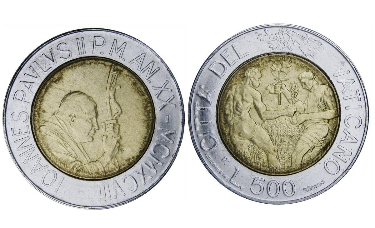 Valore moneta da 500 Lire Vaticano 1998 Grano e Olive