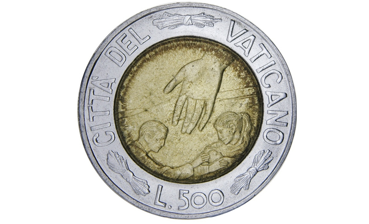 Valore moneta da 500 Lire Vaticano 1999 – Dio benedica i nostri Figli