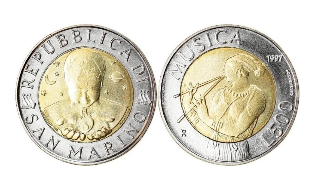 Caratteristiche delle 500 lire San Marino 1997 La musica suonatrice