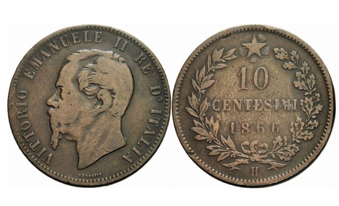 Valore moneta da 10 Centesimi Vittorio Emanuele II