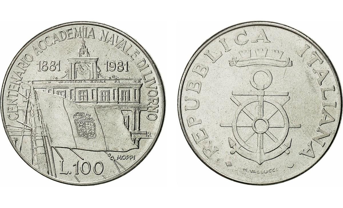 Valore moneta da 100 Lire Accademia Navale di Livorno