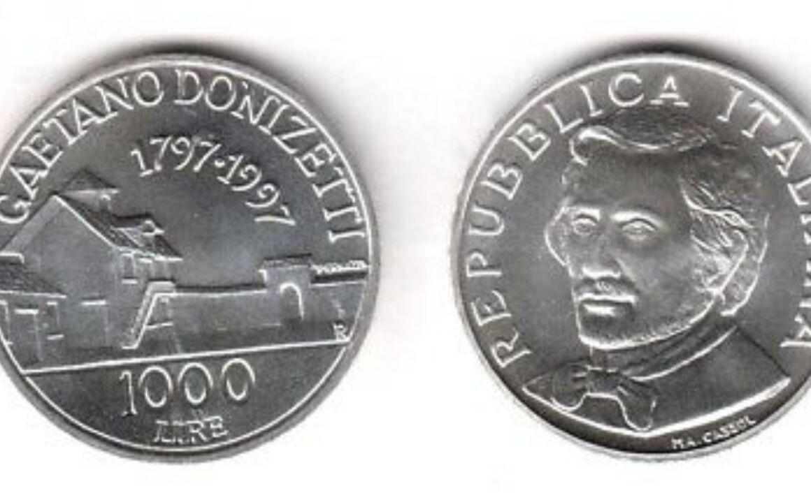 Valore moneta da 1000 Lire 1997 Gaetano Donizetti