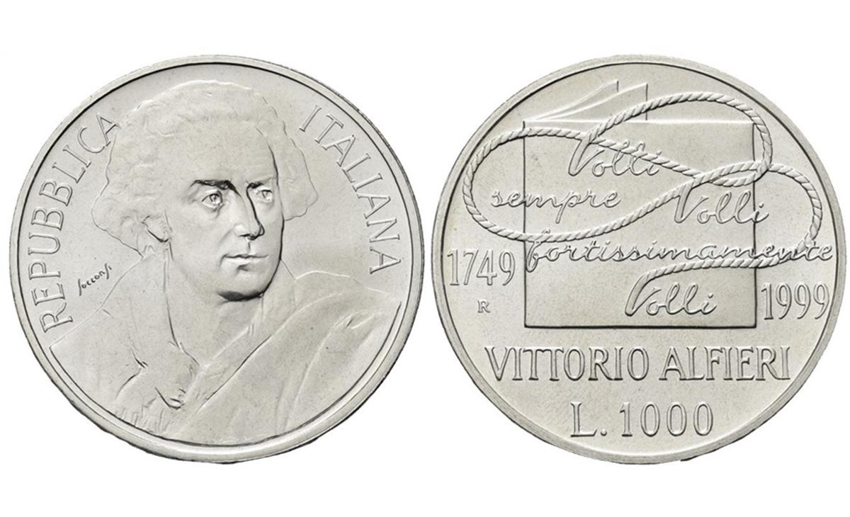 Valore moneta da 1000 Lire 1999 Vittorio Alfieri