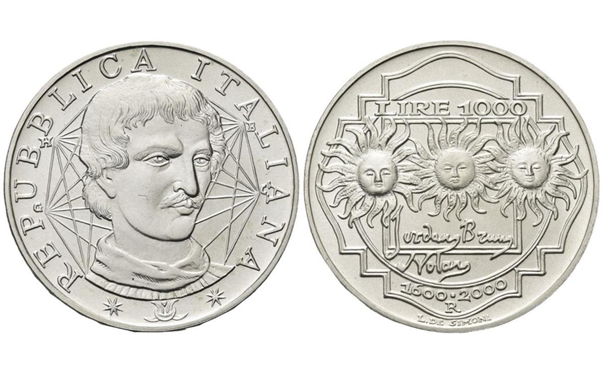 Valore moneta da 1000 Lire Giordano Bruno
