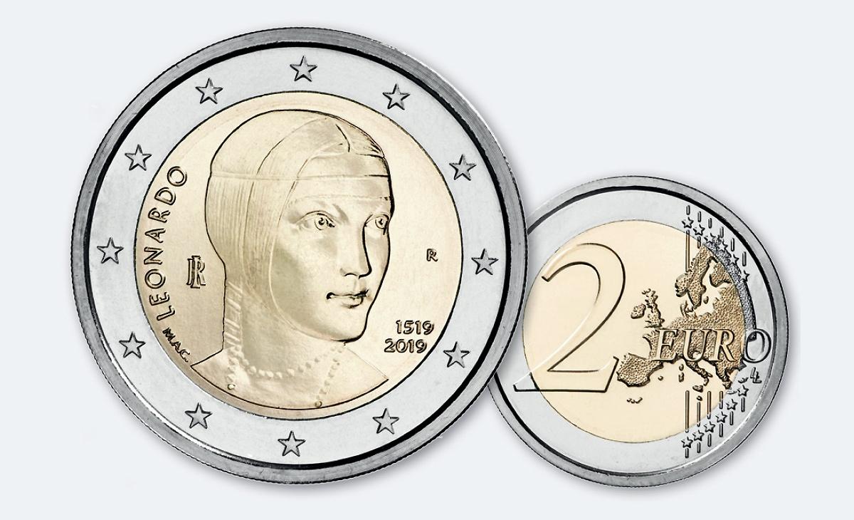 Valore e caratteristiche moneta da 2 Euro Commemorativi Italia 2019 – 500° anniversario della morte di Leonardo da Vinci