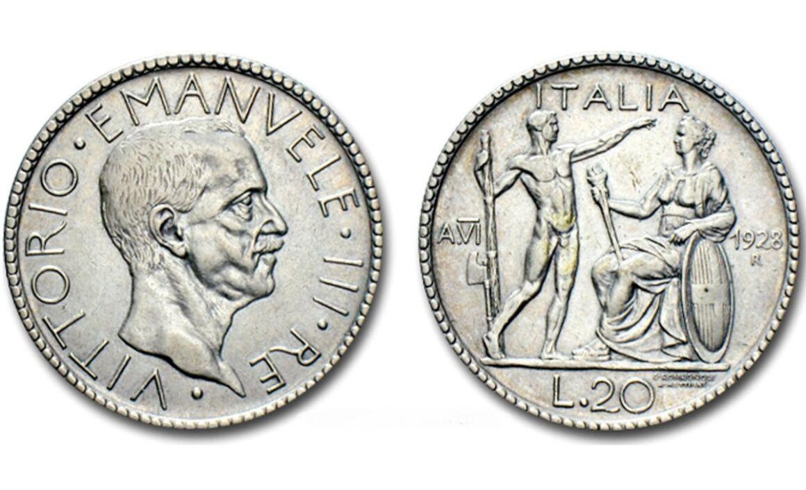 Valore moneta da 20 Lire Littore