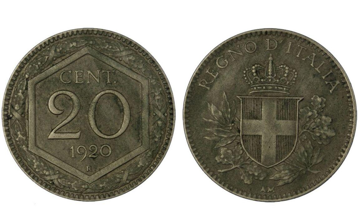 Valore moneta da 20 centesimi Esagono Vittorio Emanuele III