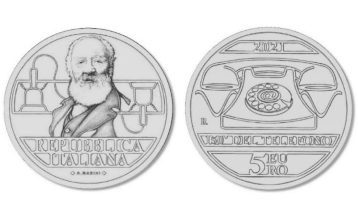 Valore moneta da 5 euro 150° Anniversario dell'invenzione del telefono di Antonio Meucci