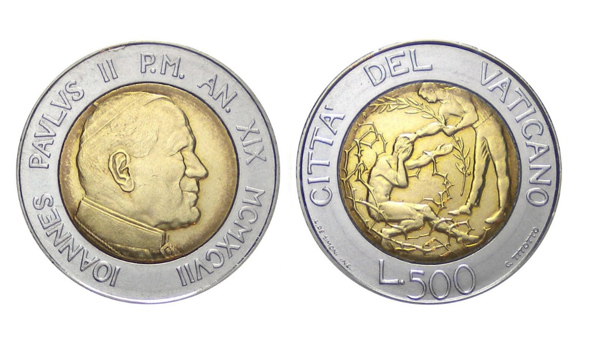 Valore moneta da 500 Lire Vaticano Perdono e Pace