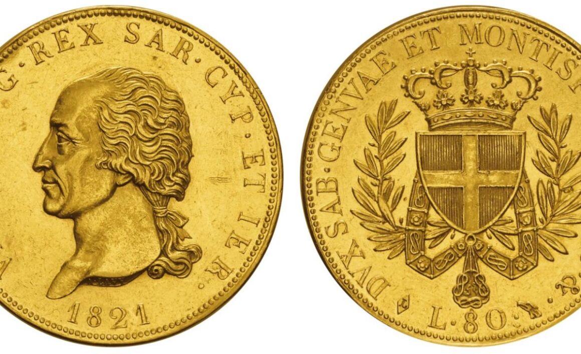 Valore moneta da 80 Lire 1821 Vittorio Emanuele I