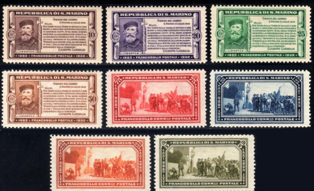 Valore Francobolli San Marino Cinquantenario della morte di Giuseppe Garibaldi 1932