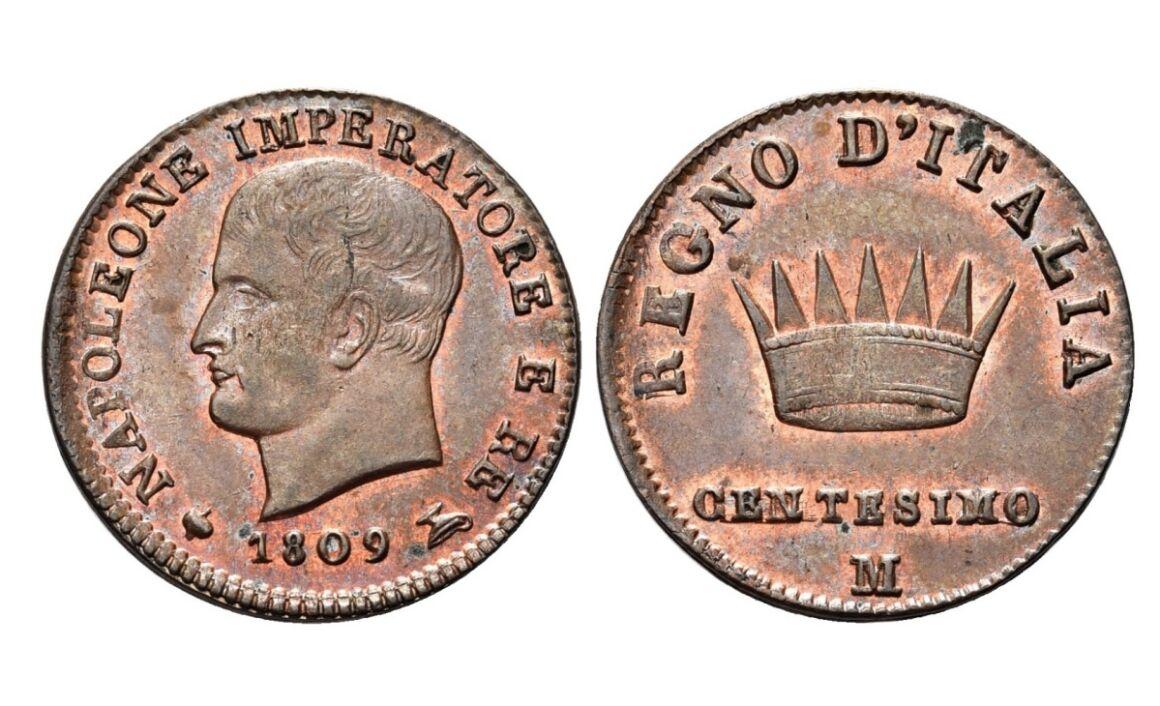 Valore moneta da 1 Centesimo Napoleone Imperatore e Re