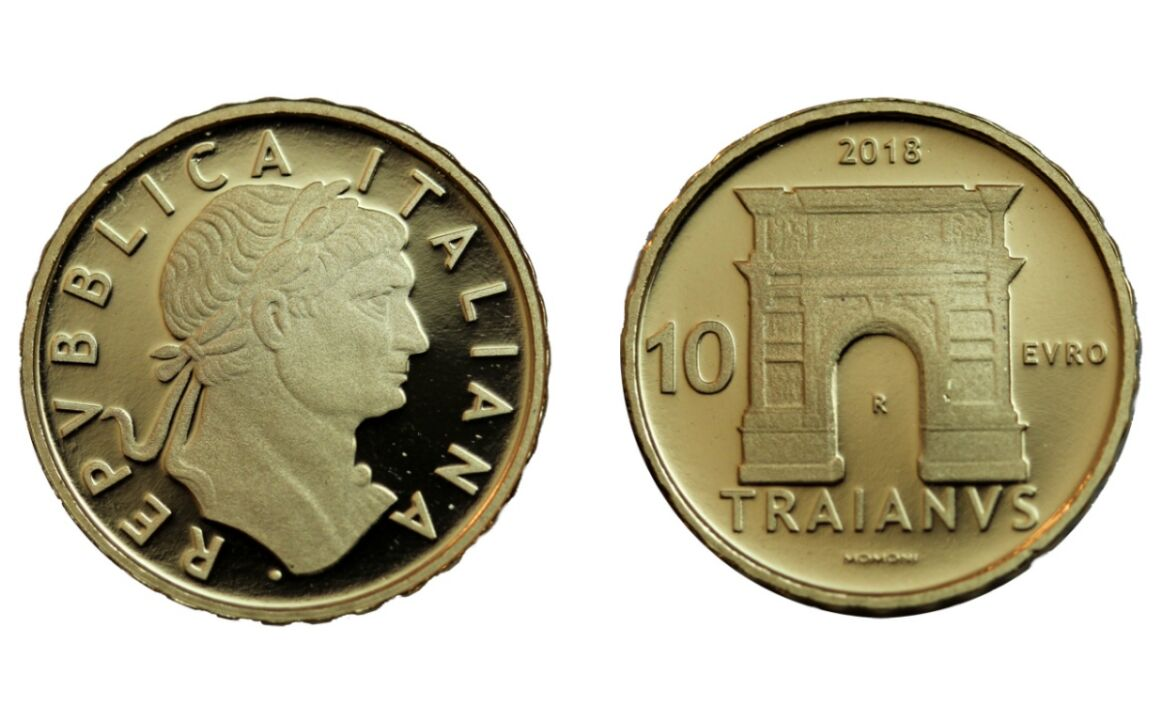 Valore moneta da 10 euro Traiano Serie Imperatori Romani