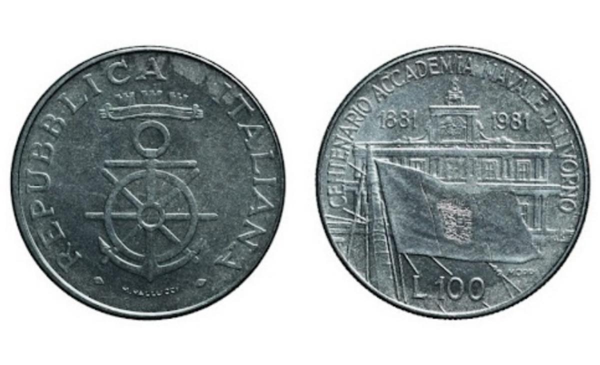 Valore moneta da 100 Lire 1981 Accademia Navale di Livorno