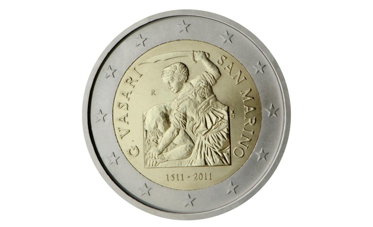 Valore moneta da 2 Euro San Marino 2011 – 500° anniversario nascita Giorgio Vasari