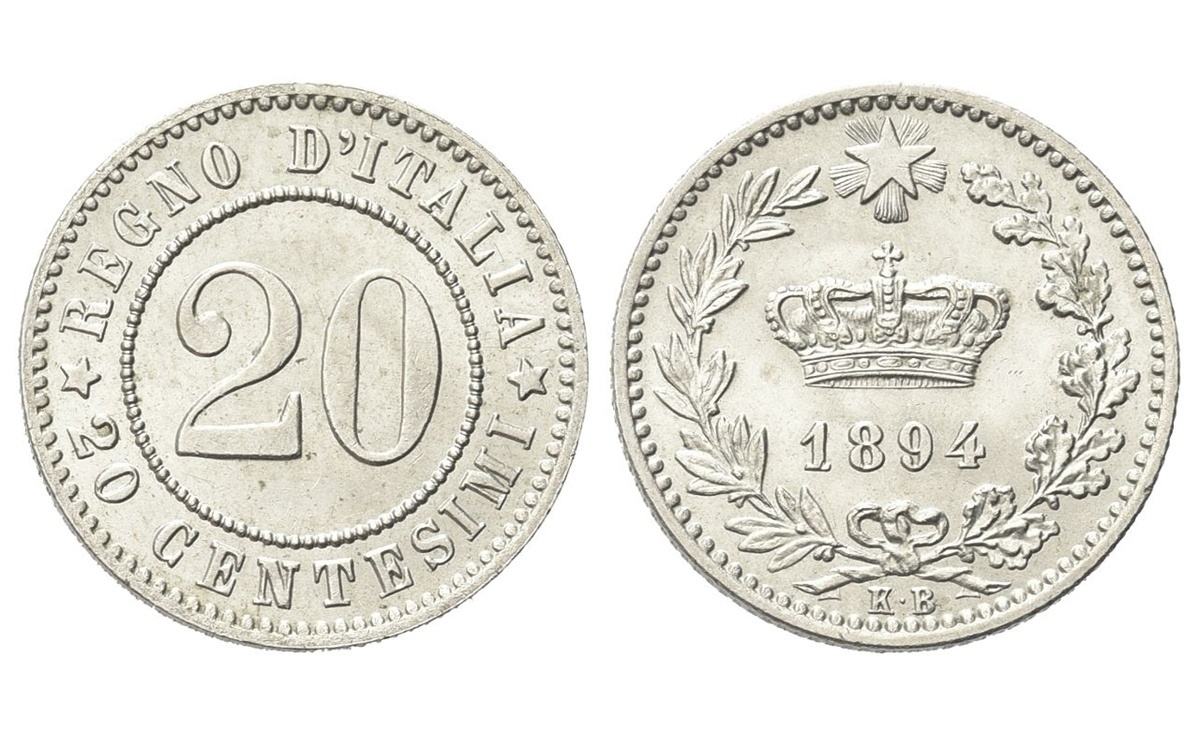 Valore 20 Centesimi Umberto I