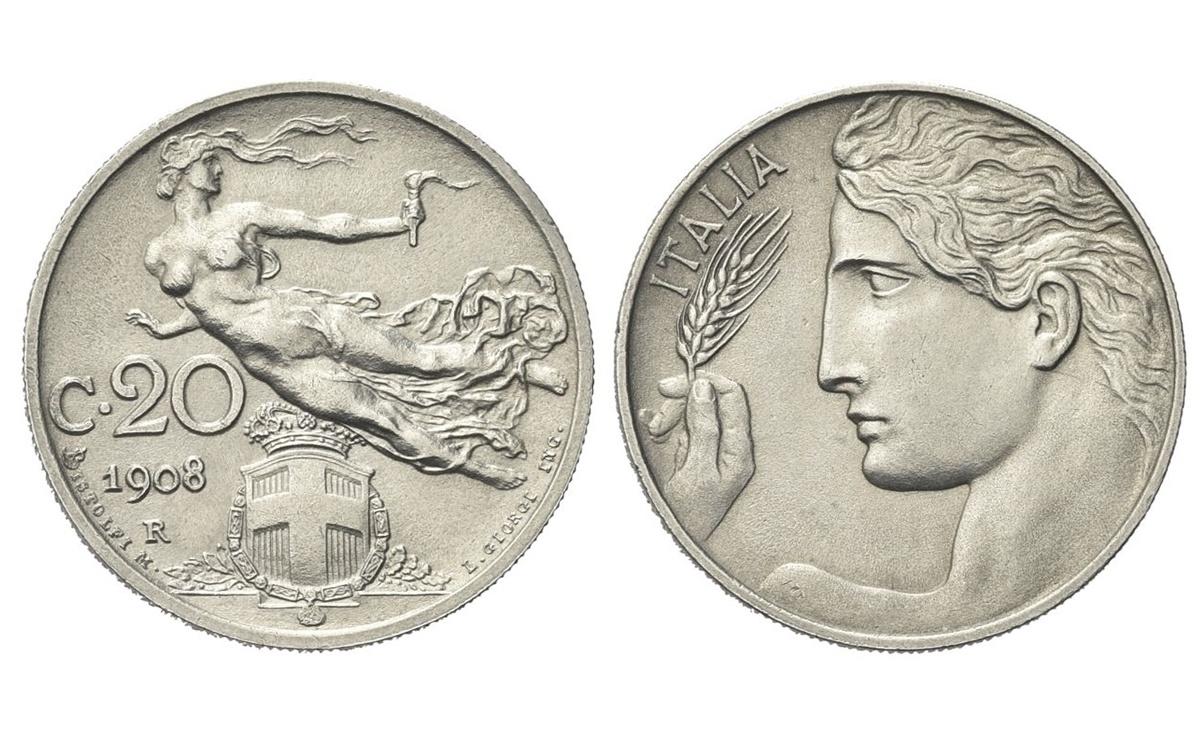 """Valore della moneta da 20 centesimi 1908 """"Libertà Librata"""" Vittorio Emanuele III"""