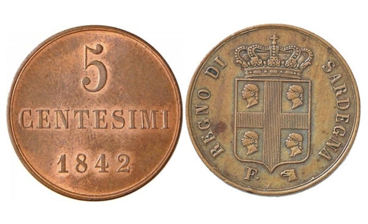 Valore moneta da 5 centesimi Carlo Alberto