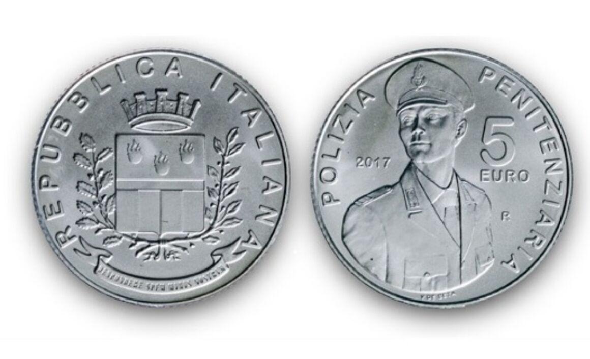 Valore moneta da 5 euro 200° Anniversario della nascita del Corpo di Polizia Penitenziaria