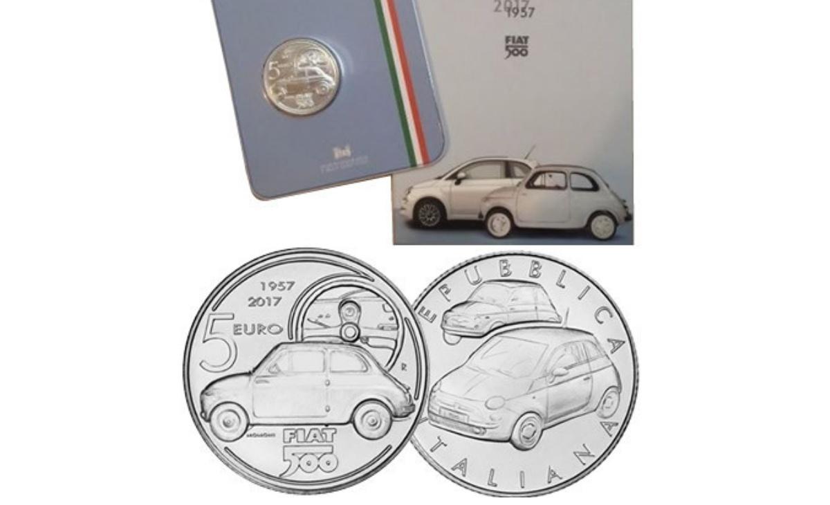 Valore moneta da 5 euro 60° Anniversario della nascita della Fiat 500