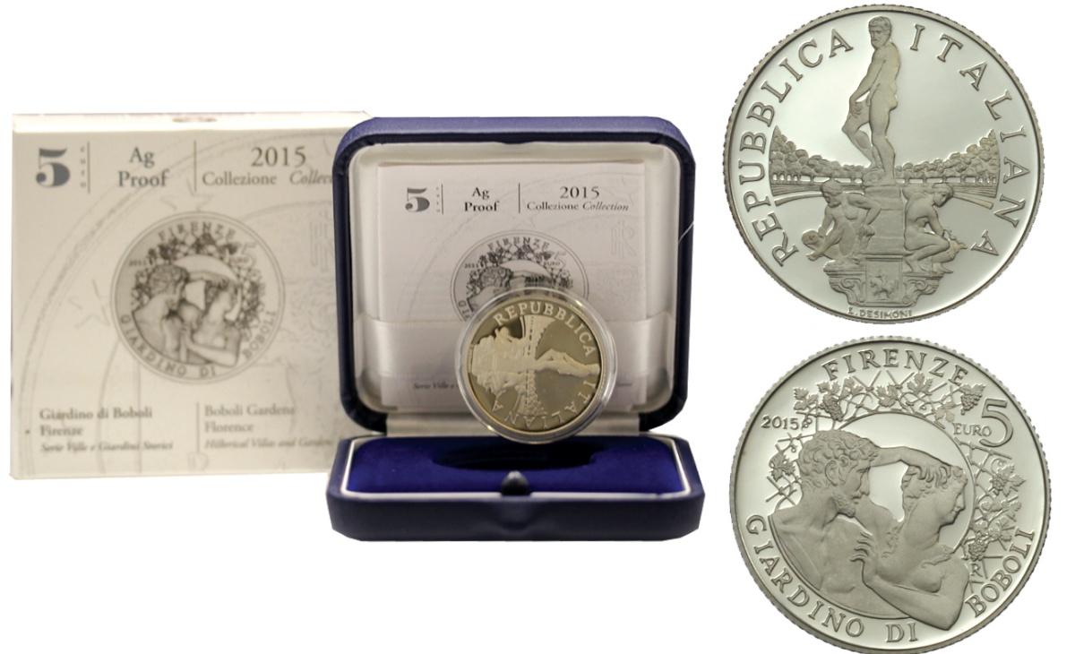 Valore moneta da 5 euro Giardino di Boboli - Firenze Serie Ville e Giardini Storici
