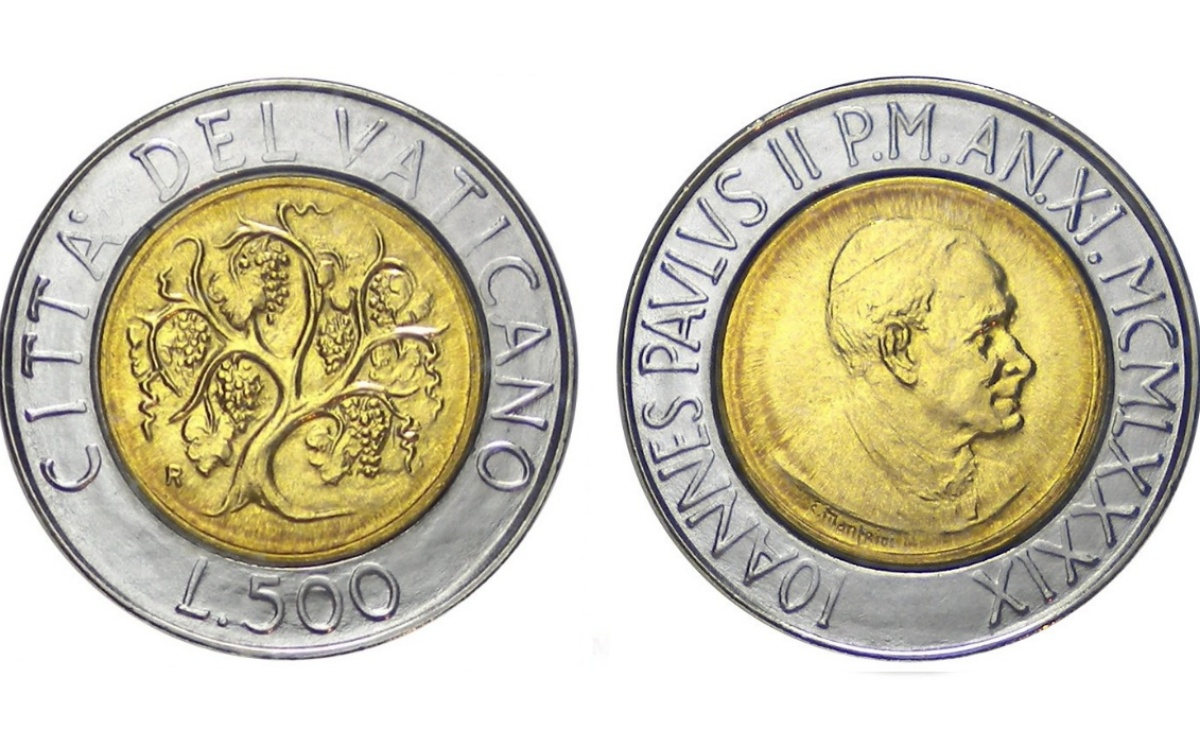Valore moneta da 500 Lire Vaticano 1989 – La Vite