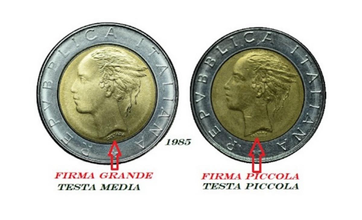 Valore varianti delle 500 lire bimetalliche