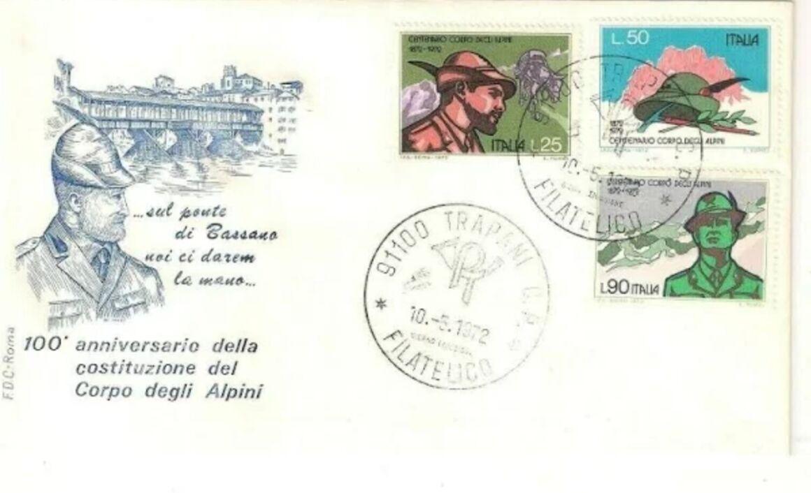 Storia del francobollo 100esimo anniversario fondazione del Corpo degli Alpini
