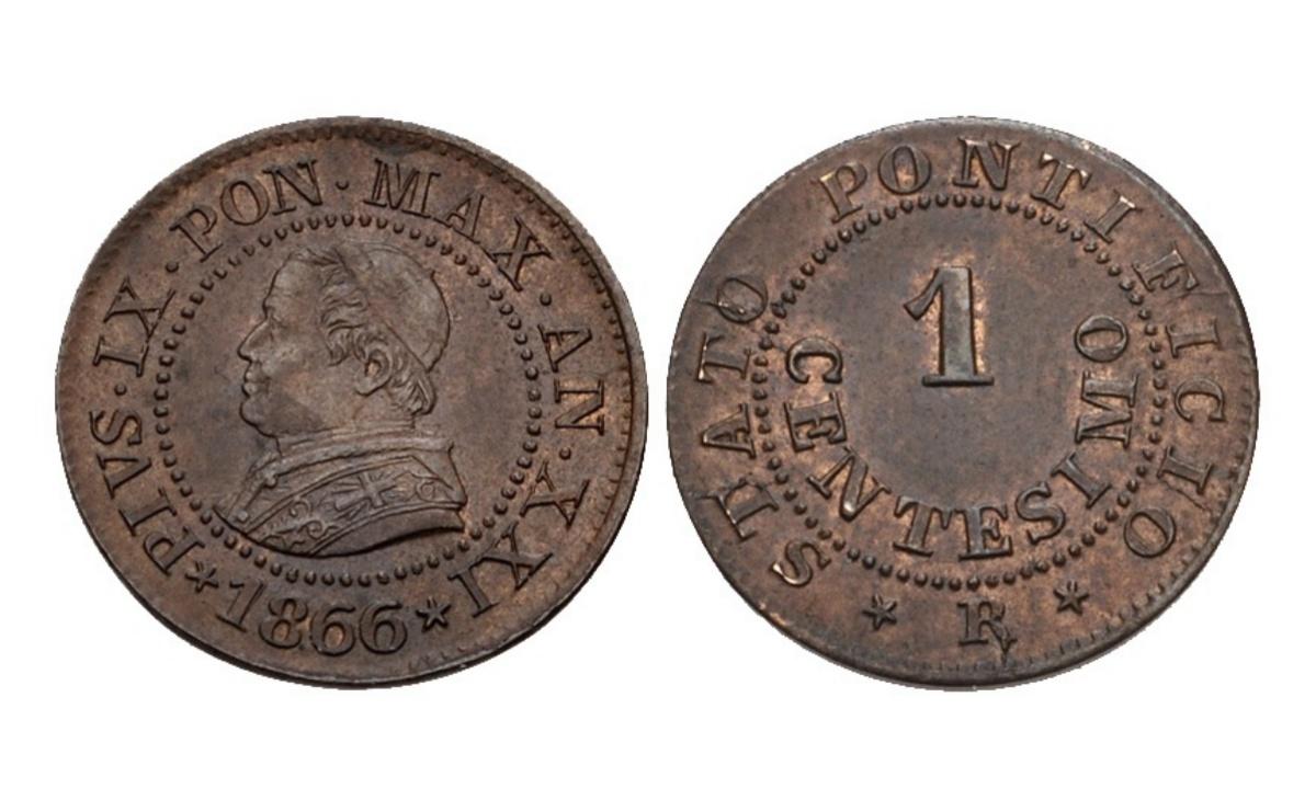 Valore della moneta da 1 Centesimo Pio IX