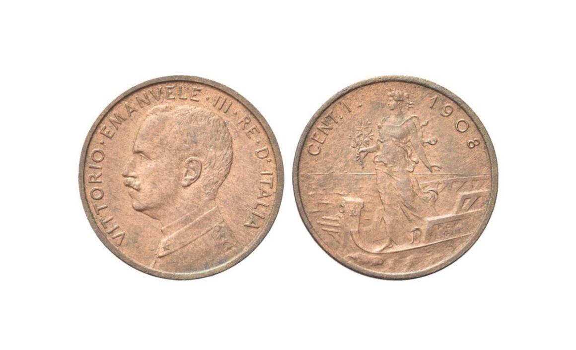 Valore 1 centesimo Italia su prora Vittorio Emanuele III