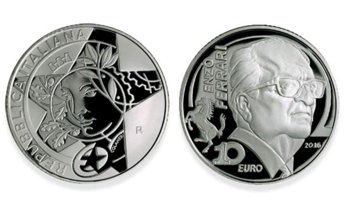 Caratteristiche moneta da 10 euro Enzo Ferrari Serie Europa Star Programme