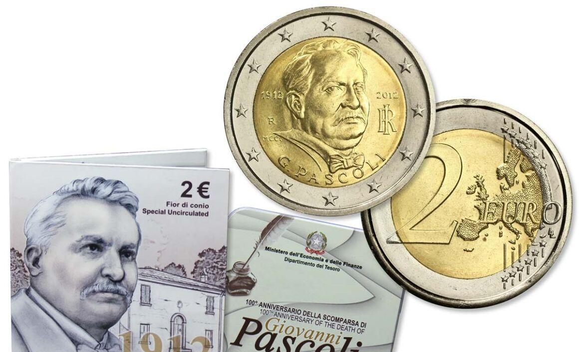 Valore moneta da 2 euro Centenario della scomparsa di Giovanni Pascoli