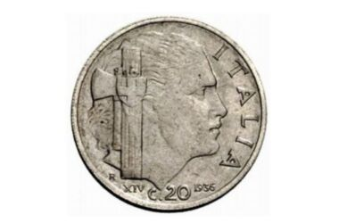 Valore moneta da 20 centesimi 1936 Impero Vittorio Emanuele III