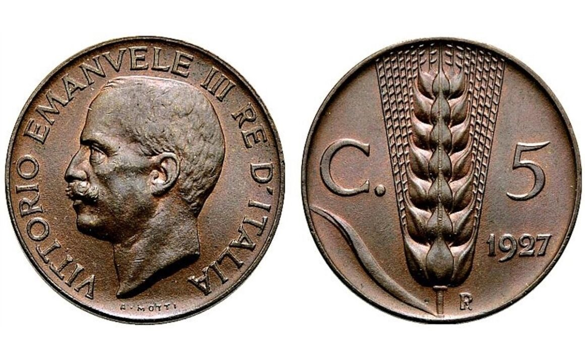 Valore moneta da 5 Centesimi Vittorio Emanuele III Spiga