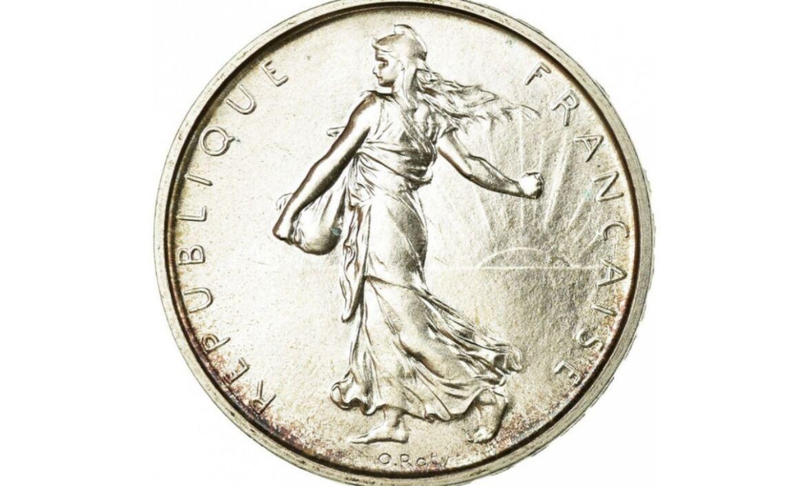 Valore moneta da 5 Franchi Seminatrice Argento